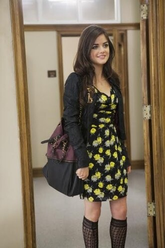 bag purse cute pretty little liars aria lucy hale black buckles burgundy jacket dress aria montgomery gorgeous beautiful pretty sexy hot floral little dress fashion style edgy girly cardigan socks pll clothing