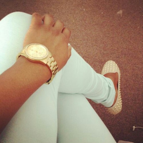 jewels watch girl watch studded shoes
