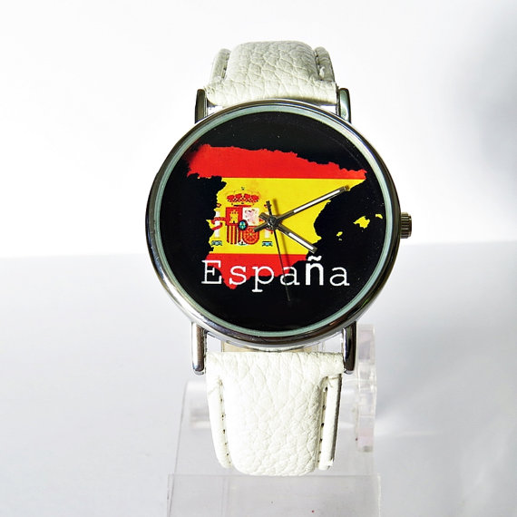 España Flag   Vintage Style Watch Spain   Flag  by FreeForme