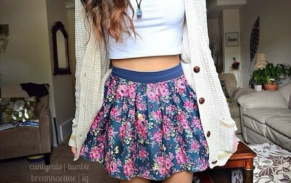 flower fashion skirt flower skater skirt sweater floral skirt white crop top white sweater knitted sweater