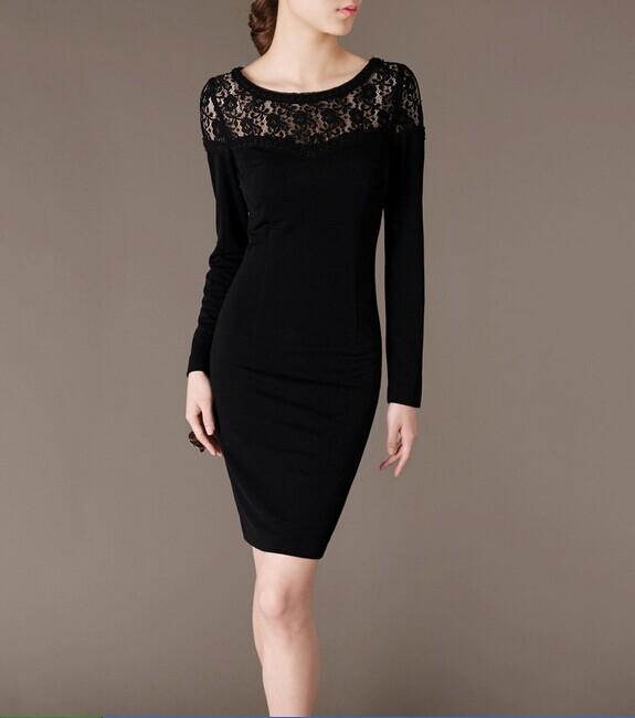 Black O-neck Lace Elegant Noble Summer OL Slim Women Fashion Dress lml7104 - ott-123 - Global Online Shopping for Dresses