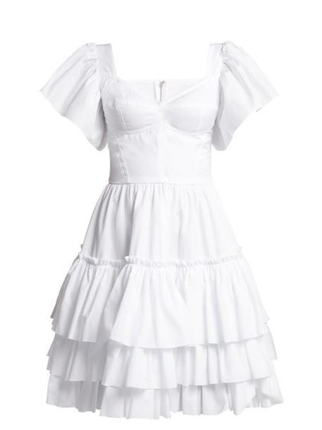 Dolce & Gabbana - Tiered Ruffle Cotton Poplin Mini Dress - Womens - White