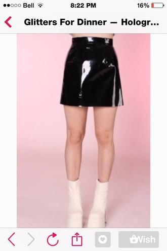 skirt black grunge holographic mini skirt boots fashion