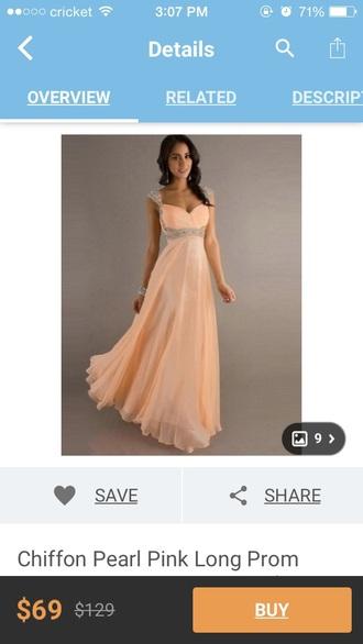 dress elegant pretty prom dress peach dress