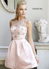 dress,sherri hill,pink dress,prom dress,lace dress,pastel dress,floral dress,sleeveless dress,cute dress,kfashion,ulzzang