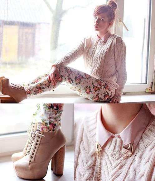 sweater shirt tie up white blue litas high heels brown lace up jeffery campbell pink roses floral pretty hipster gold floral pants studded collar blouse pants