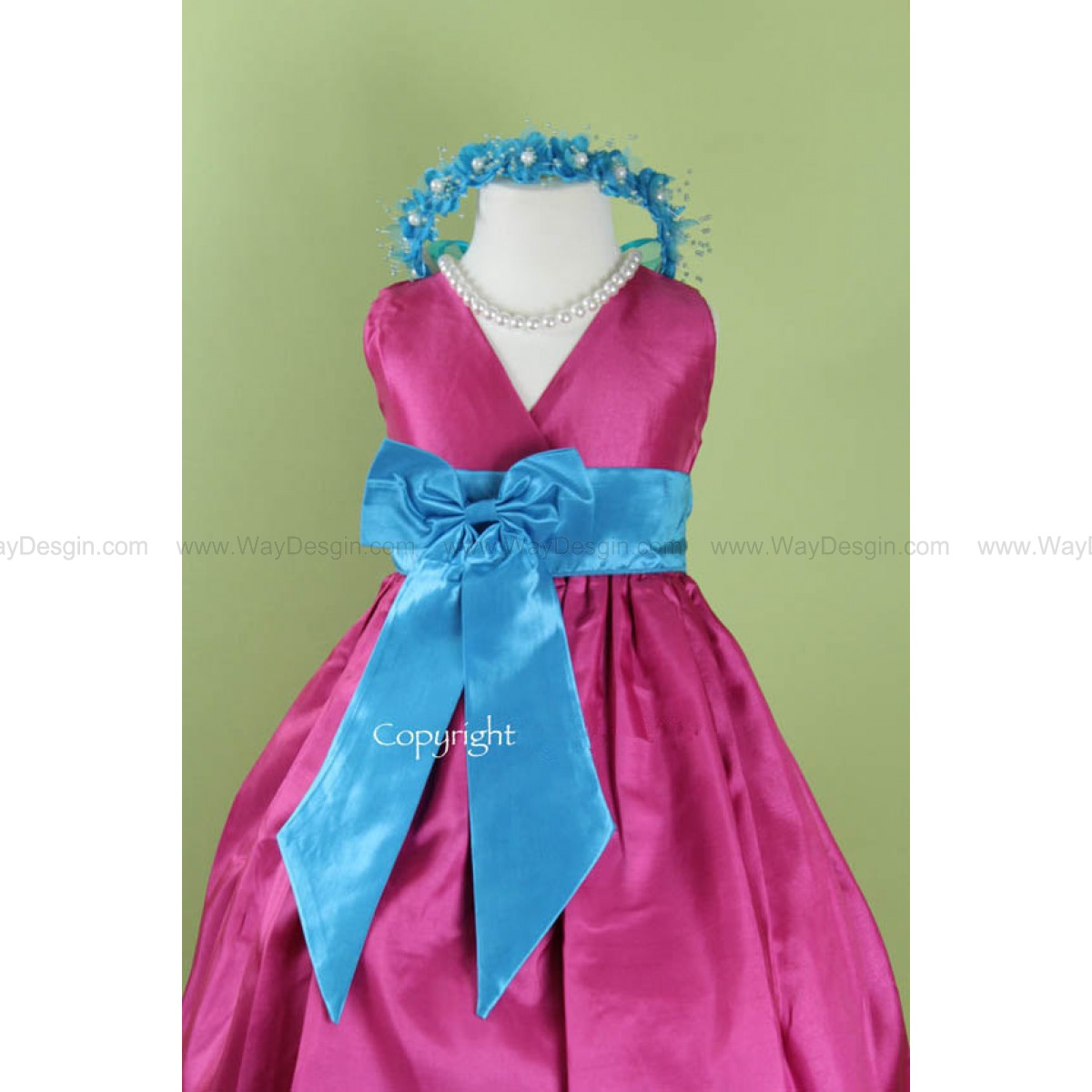 Flower Girl Dress - FUCHSIA V Dress with TURQUOISE Bow Sash - Easter, Junior Bridesmaid, Wedding - From Toddler to Teen