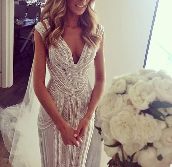 pearls white dress wedding dress wedding clothes weddingdress whitedress maxi dress white pearly wedding dress