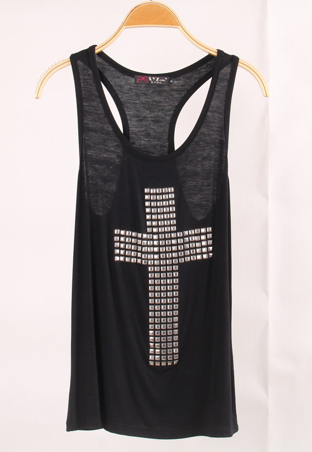 Aliexpress.com : Buy Lacegirl's women new fashion 2014 summer f21 Rivet cross Female sleeveless harajuku top tee tank Camis black/white from Reliable tee ball suppliers on LACEGIRL