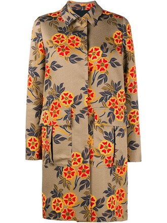 coat printed coat women floral cotton yellow orange