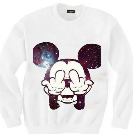 East knitting sw 111 women's mickey sweatshirts mitch printed hoodies galaxy pullovers 2014 new free shipping