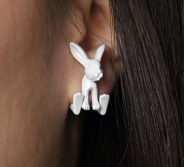 jewels earrings white bunny easter