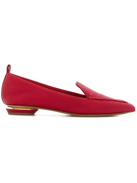 women loafers leather suede red shoes