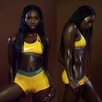 underwear nike pro yellow sports bra sportswear nike shorts workout sports shorts black girls killin it