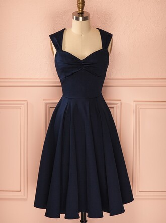 dress dark navy homecoming dress tea length dress taffeta dress