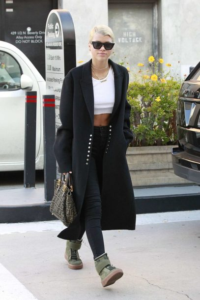 top pants sneakers crop tops fall outfits coat sofia richie streetstyle