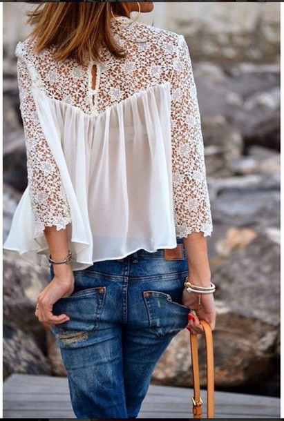 top flowers jeans