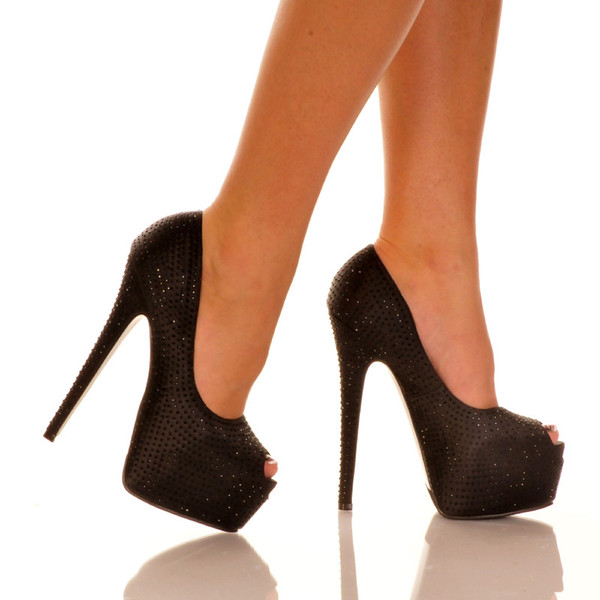 Black Peep Toe Pump | Yallure