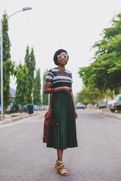 skirt,midi skirt,pleated skirt,metallic skirt,sandals,block heels,backpack,fringe backpack,t-shirt,striped t-shirt,blogger,blogger style
