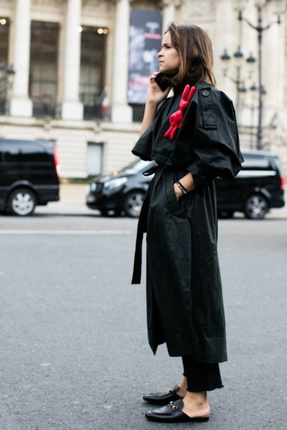 Shoes Mules Slide Shoes Black Shoes Gucci Pants Black Pants Coat Trench Coat Black Coat ...