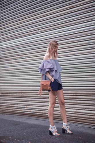 bekleidet blogger bag shoes jewels sunglasses off the shoulder shoulder bag blue shorts thick heel lace up heels ruffled top