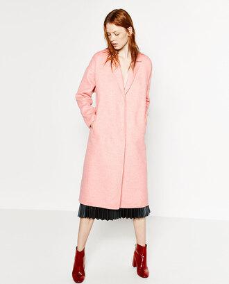 coat pink coat zara fall coat