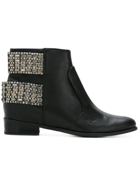 heel women embellished ankle boots leather black shoes