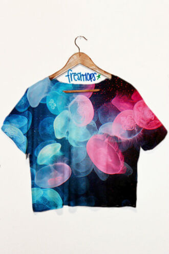 t-shirt crop tops top jellyfish colorful galaxy print pink blue black sea creatures