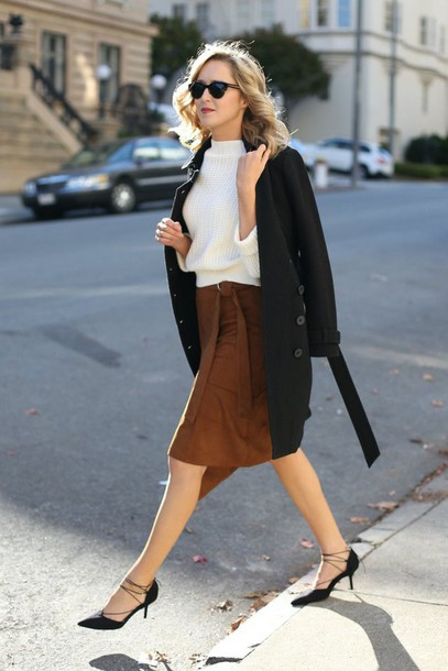 skirt winter date night outfit date outfit brown midi skirt wrap skirt top white top coat black coat kitten heels mid heel pumps shoes black shoes sunglasses