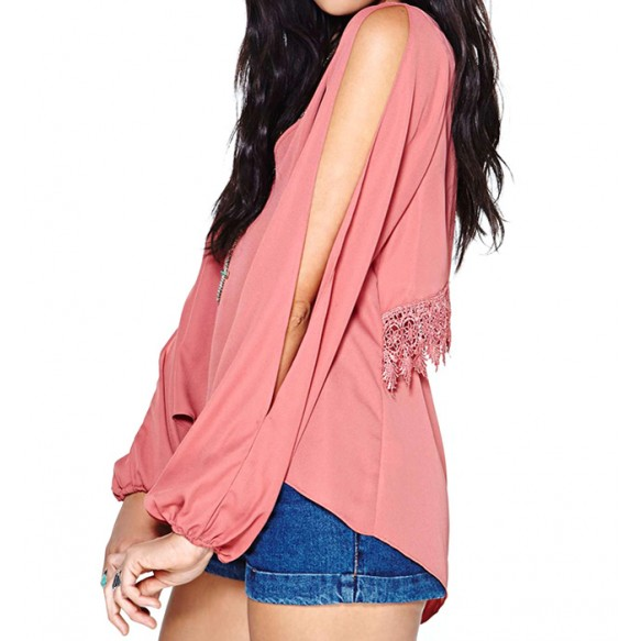 Split Sleeve Blouse With Layered Back at Style Moi