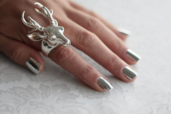 nail polish jewels silver shiny ring deer deer ring silver deer ring nail poilsh