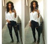 top,black,t-shirt,shirt,black jeans,style,fashion,ripped jeans,ripped,curly hair,hat,bag,purse,shoes,heels,jewelry,girly,girl,bracelets,outfit,jeans,pants,black girls killin it,natural hair,booties,ripped pants,torn black jeans,black ripped jeans,skinny pants,mesh shirt,mesh,see through,cute,ootd,fringed bag,fringes,black fringe,blouse