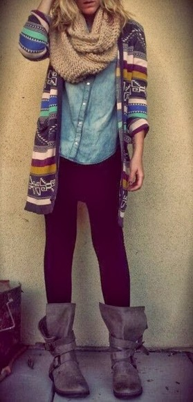 cardigan jacket fall outfits denim shirt shoes cute scarf shirt sweater