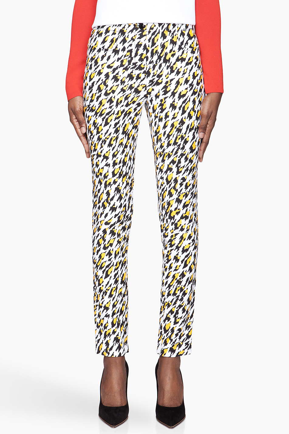 mugler white leopard print applique trousers