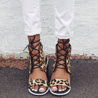 shoes sandals black leopard print white lace sensos slippers summer fashion ootd ootn strappy laced up lug sole cheetah print shoes