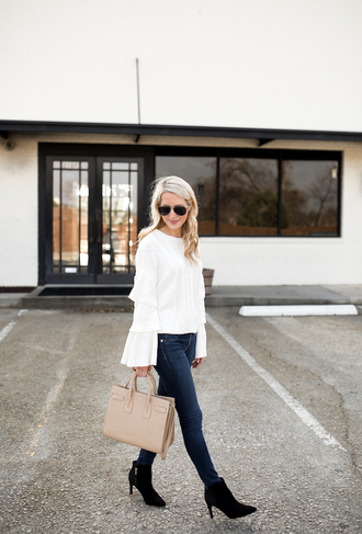 krystal schlegel blogger sweater jeans shoes bag make-up bell sleeves white blouse handbag ankle boots
