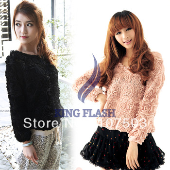 Fashion Lady 3D Lace Rose Flower Pullover Chiffon blouse lady Shirt Tops Loose T shirts Blouse women sweater 7408-in Pullovers from Apparel & Accessories on Aliexpress.com