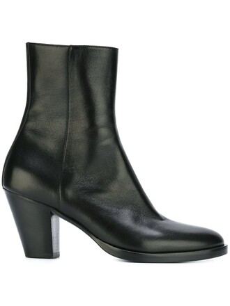 zip women boots leather black shoes