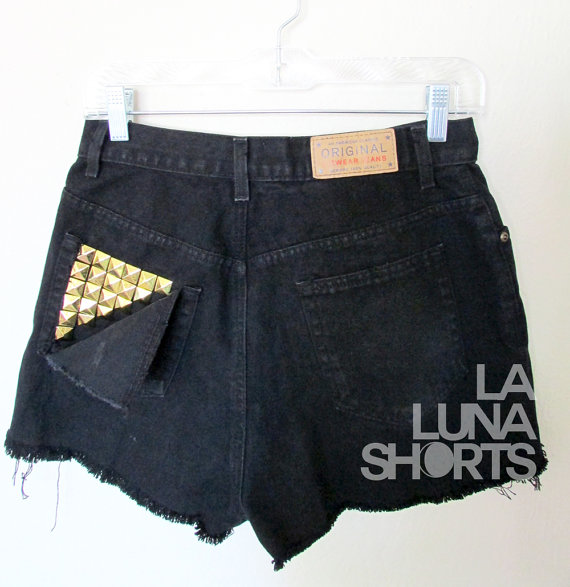 Black Distressed High Waisted Denim Shorts with by LaLunaShorts