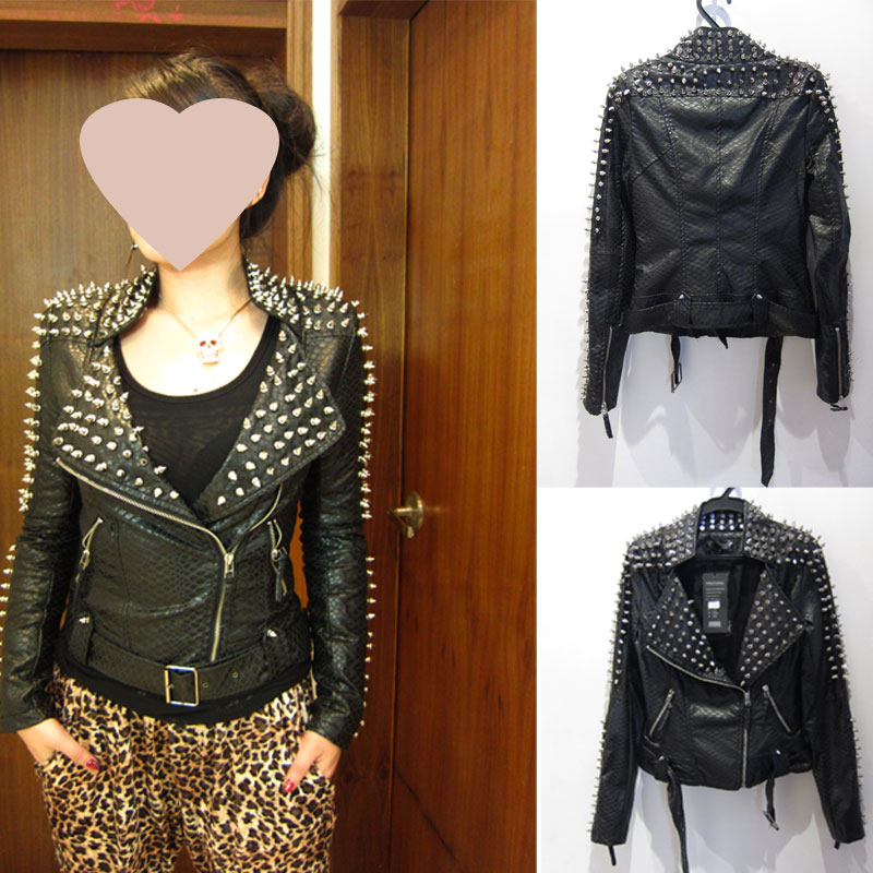 Strong Punk Spike Studded Shoulder PU Snake Leather Black Cropped Coat Jacket | eBay