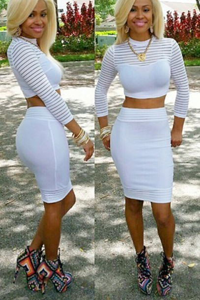 Fashion hot two pieces white dress