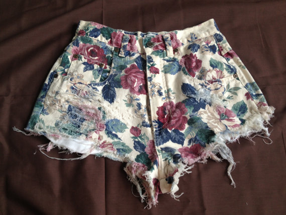 Floral High Waisted Destroyed Denim Shorts by PoiseLittlePieces