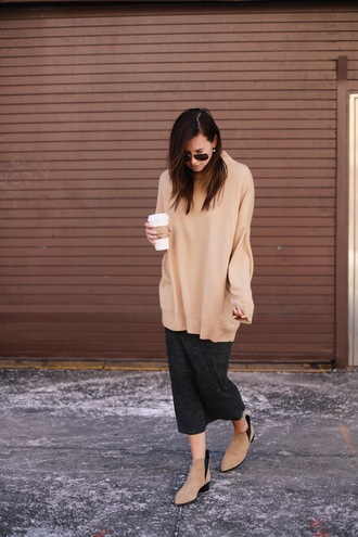 we wore what blogger ankle boots charcoal midi skirt camel oversized sweater