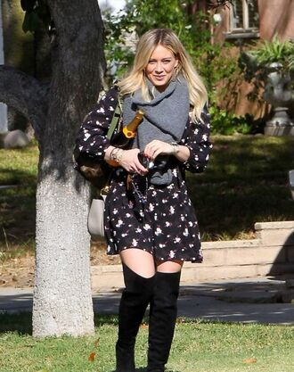 dress fall outfits fall dress hilary duff boots purse scarf bag floral dress