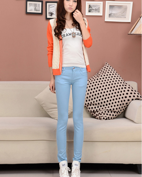 2014 Autumn&Winter Lady Necessary Hot Sale New Fashion Simple Style PureColor Stretch Pencil Long Pants Black/Sky Blue/Rose/Blue-in Pants & Capris from Apparel & Accessories on Aliexpress.com