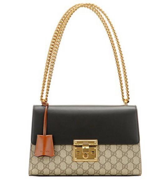 Gucci Padlock GG Supreme Medium leather and coated canvas shoulder bag in black
