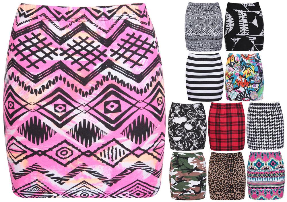 Womens aztec animal tartan stripe comic ladies stretch bodycon short mini skirt