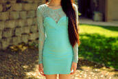 dress,sweetheart dress,mint,mint dress,lace dress,lace,bodycon,bodycon dress,sweetheart neckline,long sleeve dress,gorgeous