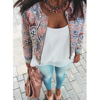 jacket colorful light top jeans