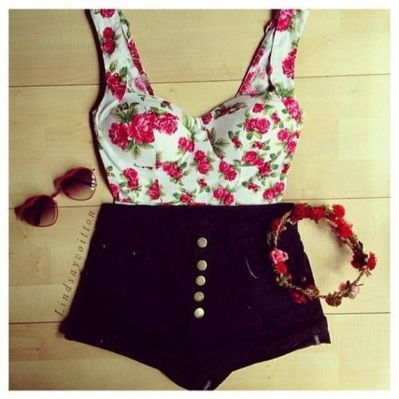 black denim shorts t-shirt white flowery pink crop tops pretty roses bandeau